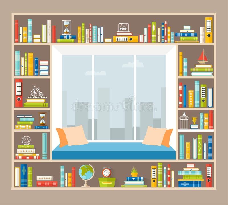 Zona de recreo en el alféizar La organización de un lugar para los libros de lectura Interior del vector stock de ilustración