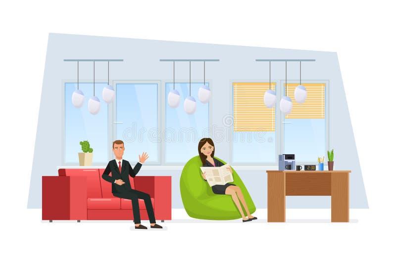 Zona del resto en oficina Los empleados del colega se relajan en sitio ilustración del vector
