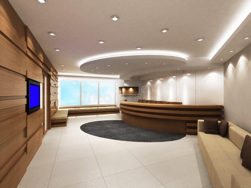 Zona dell'entrata dell'ufficio con il contatore di ricezione royalty illustrazione gratis