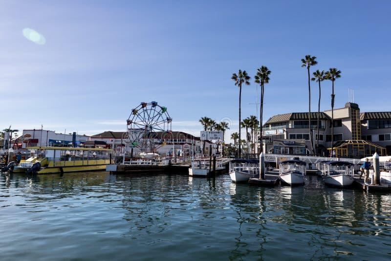 Zona di divertimento dell'isola della balboa in spiaggia California di Newport immagini stock libere da diritti