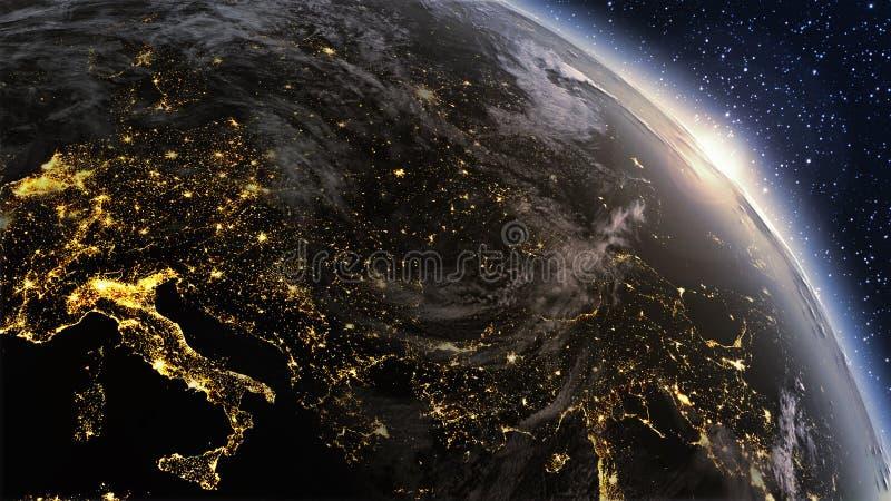 Zona di Europa del pianeta Terra con la notte e l'alba immagine stock libera da diritti