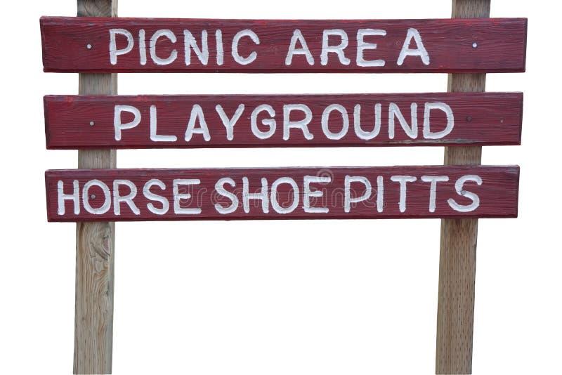 Zona di picnic e segno del campo da giuoco fotografia stock libera da diritti