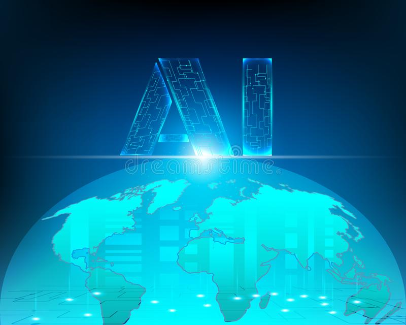 Zona do negócio da conexão de Internet do cyber do mapa do mundo com A ilustração do vetor