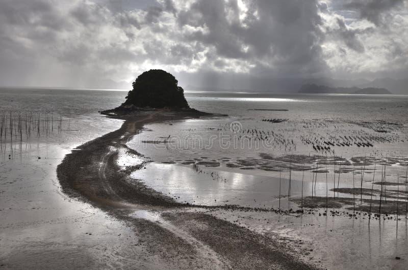 Zona intertidal da aldeia piscatória chinesa em sunlit imagens de stock royalty free