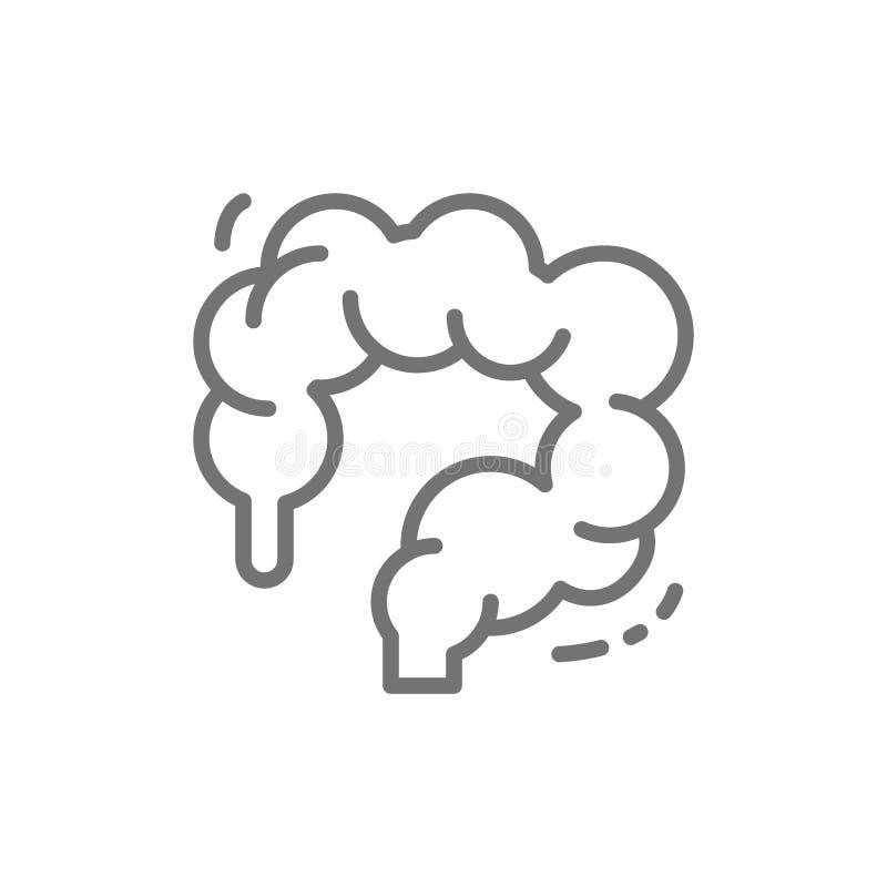 Zona intestinal, dos puntos, intestinos, línea icono del órgano humano libre illustration