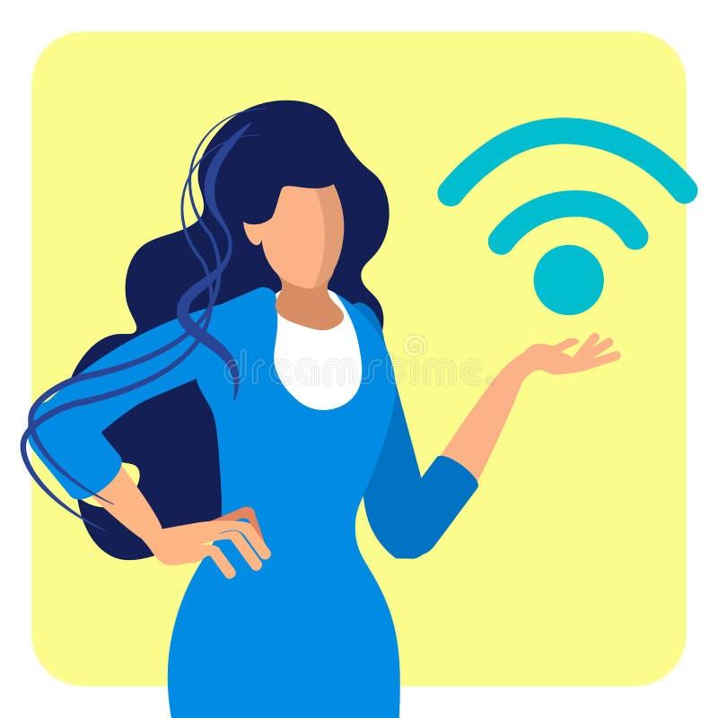 Zona libre de Wifi, ejemplo plano del acceso público ilustración del vector