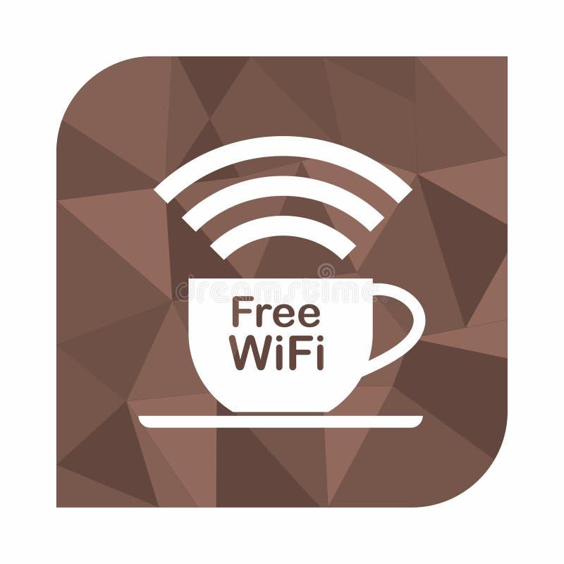 Zona libre del wifi, concepto del icono para el café o cafetería encendido en el fondo del estilo del polígono, fondo geométrico  stock de ilustración