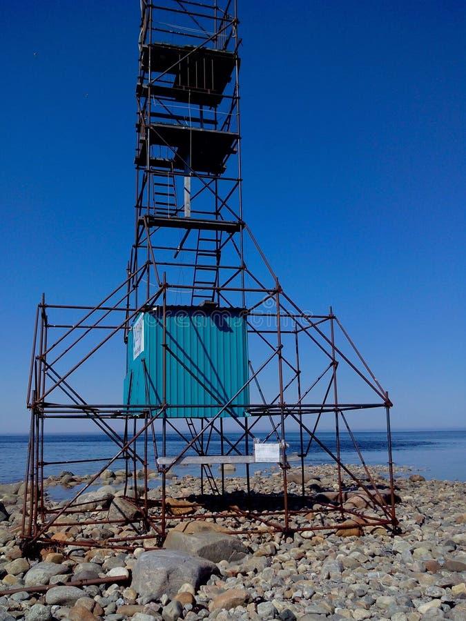A zona litoral do mar branco na beluga do cabo, blagami de observação da torre, ilhas de Solovetsky, oblast de Arkhangelsk, Rússi imagens de stock royalty free