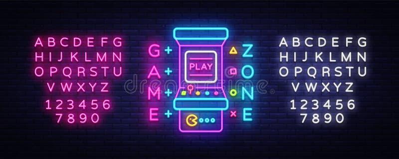 Zona Logo Vetora Neon do jogo Placa do sinal de néon da sala de jogo, molde do projeto, propaganda da indústria do jogo, máquina  ilustração stock