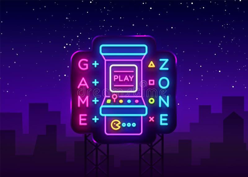 Zona Logo Vetora Neon do jogo Placa do sinal de néon da sala de jogo, molde do projeto, propaganda da indústria do jogo, máquina  ilustração do vetor