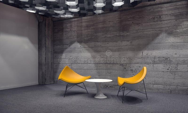 Zona para sentarse contemporánea en una sala de espera stock de ilustración