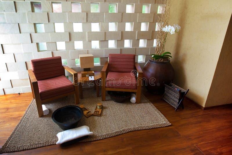 Zona para sentarse del balneario para relajarse y la terapia foto de archivo libre de regalías