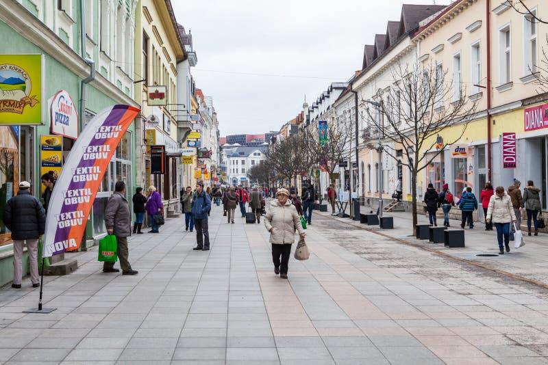 Zona pedestre no centro de cidade de Zilina fotos de stock