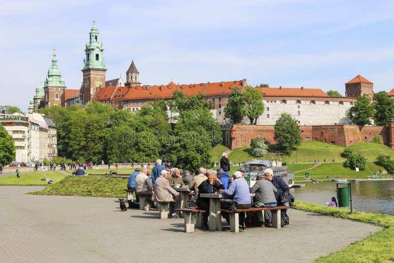 Zona pedestre perto do castelo real de Wawel em Krakow, Polônia foto de stock royalty free