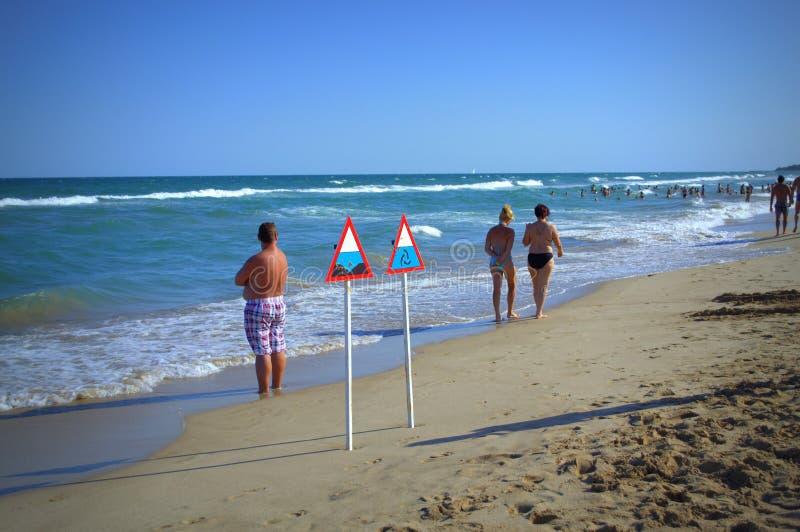 Zona peligrosa en la playa foto de archivo libre de regalías