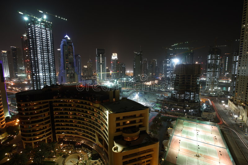 Zona primera de la construcción de la línea de costa en Dubai fotos de archivo