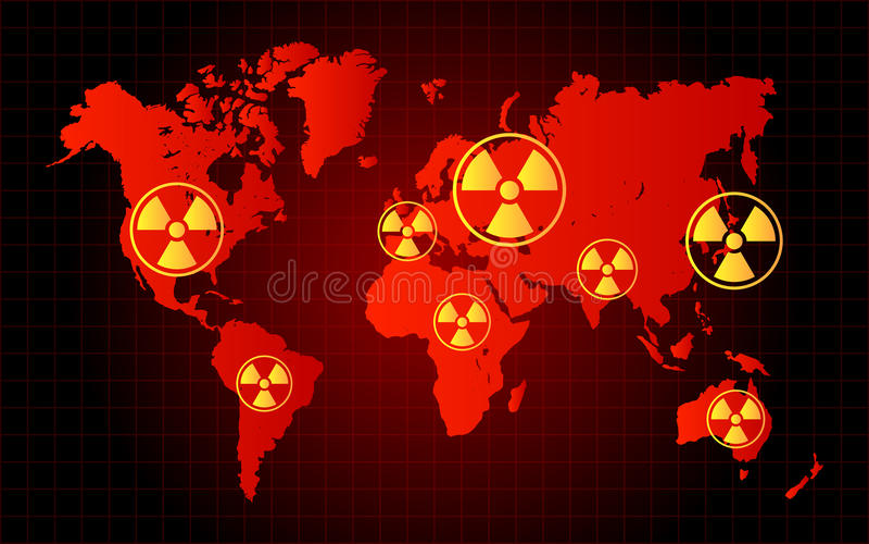 Zona radiactiva del peligro de la basura nuclear del mapa del mundo stock de ilustración