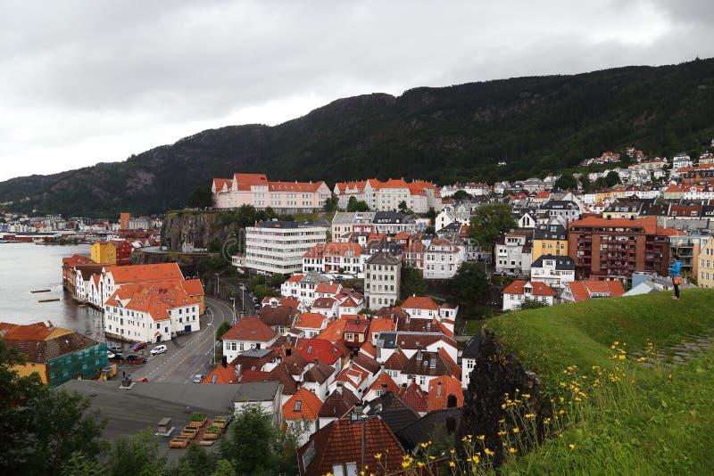 Zona residenziale Bergenhus a Bergen fotografia stock