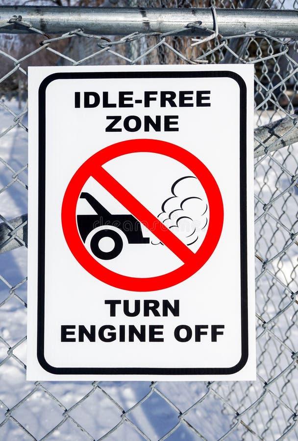 Zona senza in ozio, motore di giro fuori dal segno fotografia stock libera da diritti