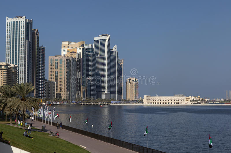Zona verde da Khalid Lagoon Sharjah I UAE fotografia stock libera da diritti