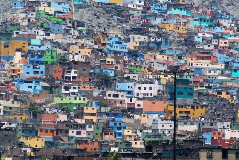 Zonas da pobreza de Lima imagem de stock royalty free