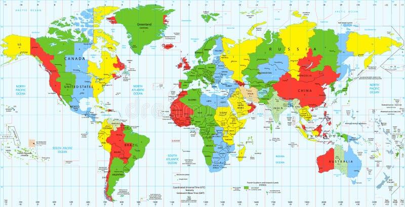 Zonas de horas padrão detalhadas do mapa do mundo ilustração royalty free