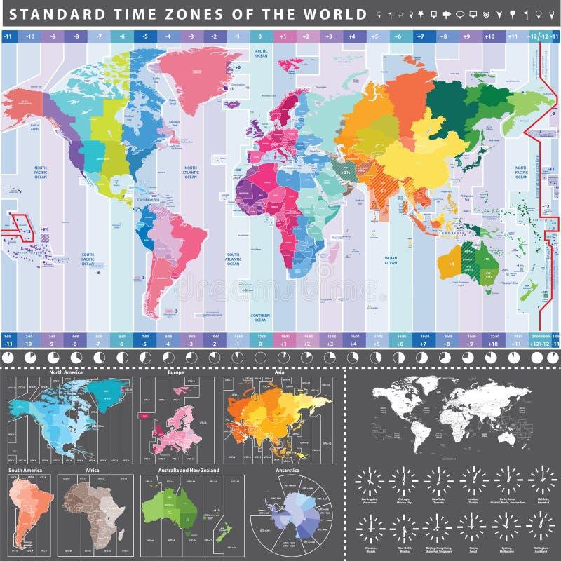 Zonas de horas padrão do mapa do mundo com continentes separadamente ilustração stock