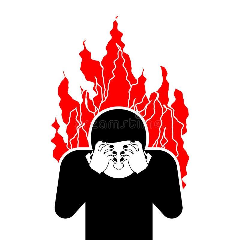Zondaar op brand OMG Dekkingsgezicht met handen wanhoop vector illustratie