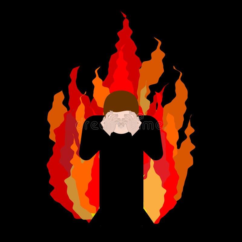Zondaar op brand OMG Dekkingsgezicht met handen Wanhoop en sufferin vector illustratie