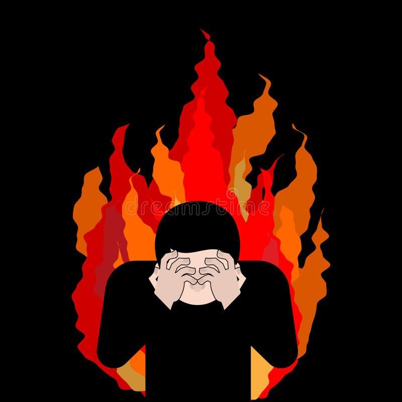 Zondaar op brand OMG Dekkingsgezicht met handen Wanhoop en sufferin royalty-vrije illustratie