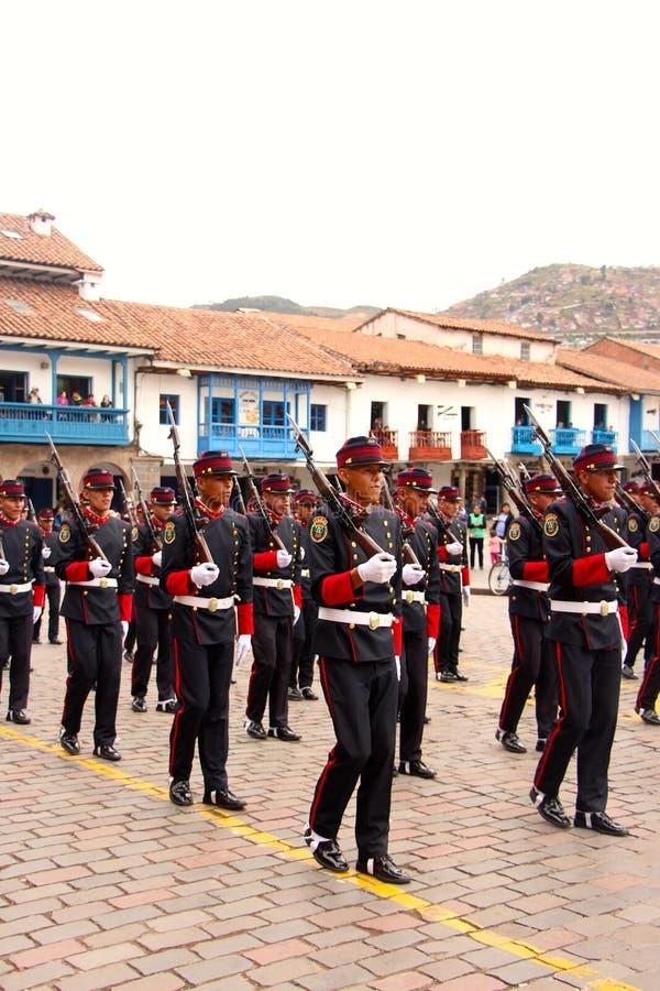 Zondag het Marcheren parade Arequipa stock foto's