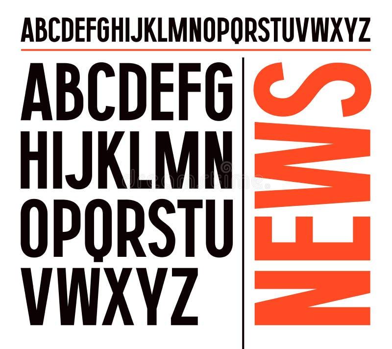 Zonder serif doopvont in krantenstijl vector illustratie