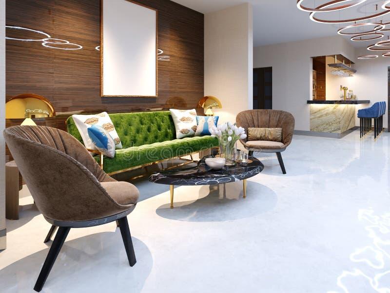 Zone d'accueil et secteur de salon avec de beaux meubles colorés, un sofa avec deux fauteuils, les jambes en métal et la tapisser illustration stock