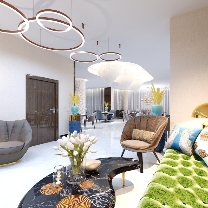 Zone d'accueil et secteur de salon avec de beaux meubles colorés, un sofa avec deux fauteuils, les jambes en métal et la tapisser illustration libre de droits