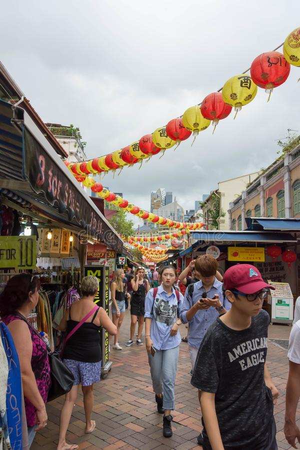 Zone d'atelier de Chinatown pendant la nouvelle année chinoise, Singapour, Febr images stock