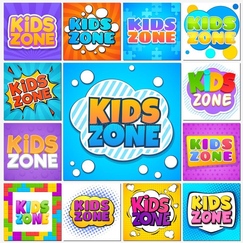 Zone d'enfants Bannières et labels de terrain de jeu de jeu d'enfants avec le lettrage de bande dessinée Les écoliers garent le v illustration stock