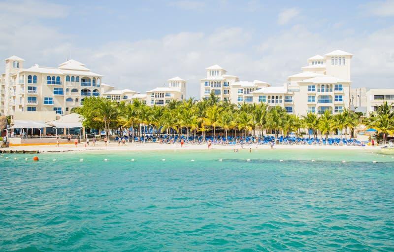 Zone d'hôtel dans la zone de Cancun/Hoteliere Cancun/plage à l'hôtel image libre de droits