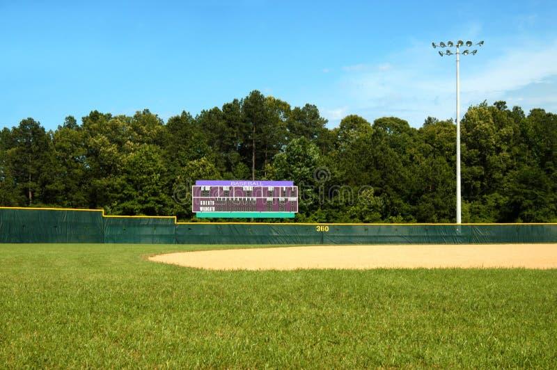 Zone de base-ball et tableau indicateur photos stock