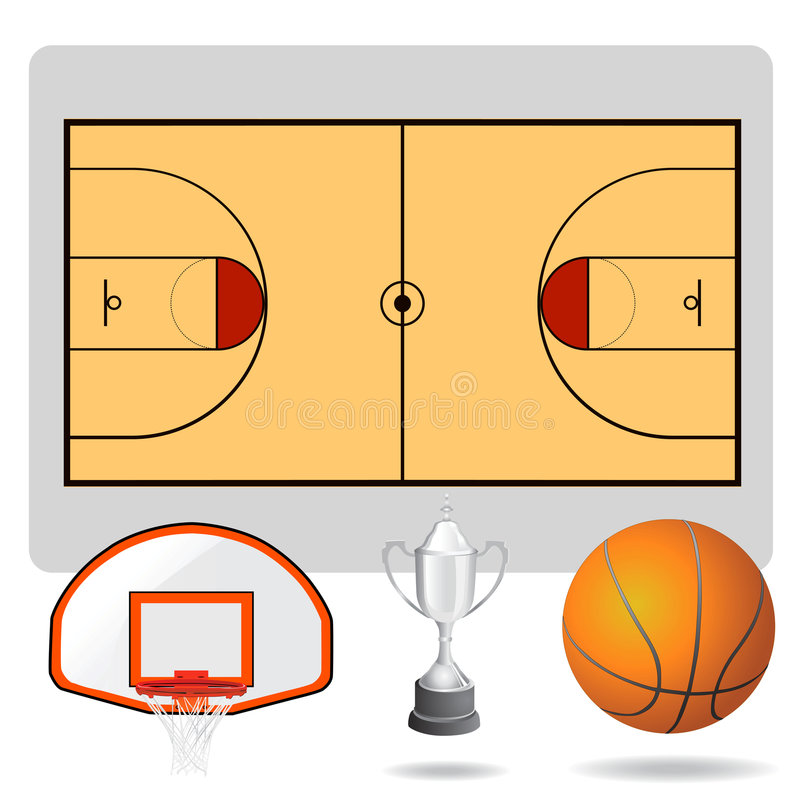Zone de basket-ball, bille et vecteur d'objets illustration stock