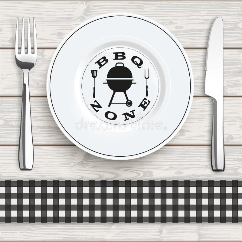 Zone de BBQ de plat de fourchette de couteau de tissu vérifiée par noir en bois illustration libre de droits
