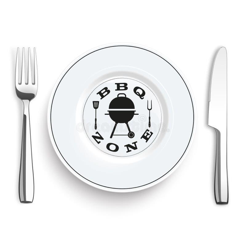 Zone de BBQ de vaisselle plate d'acier inoxydable de fourchette de couteau illustration libre de droits