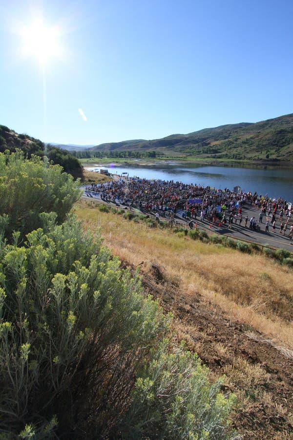 Zone de chemin de Triathlon photos stock