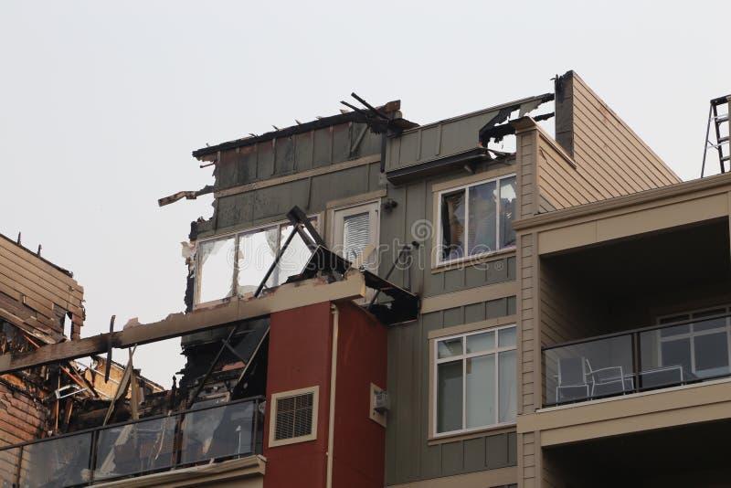 Zone de feu sur l'appartement - dossiers d'assurance photographie stock libre de droits