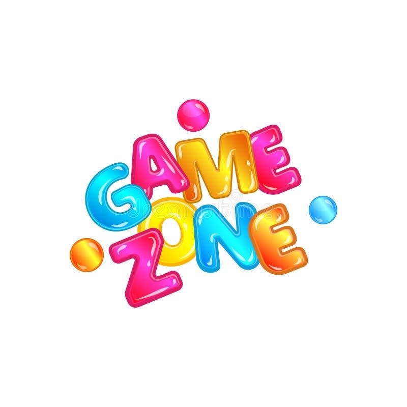 Zone de jeu - logo d'isolement coloré de typographie pour le terrain de jeu d'enfants illustration libre de droits