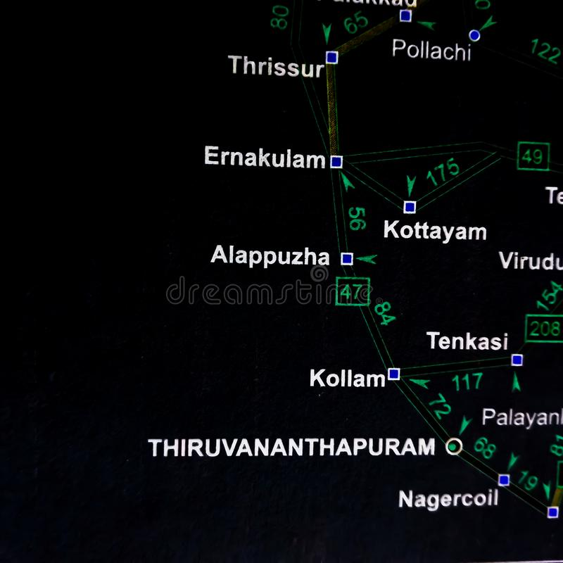 zone de la ville de Thiruvananthapuram révélée sur la carte géographique de l'Inde photo stock