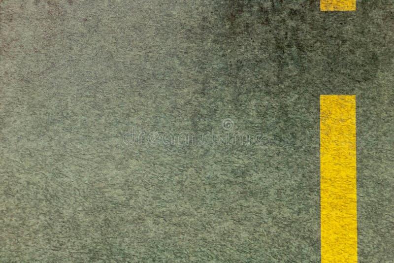 Zone de manoeuvre jaune graphique de marquage routier de ressource sur l'asphalte photo stock