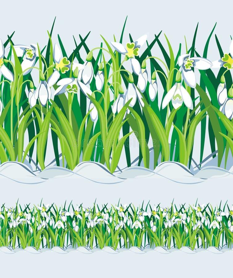 Zone de Snowdrops. Sans joint. Vecteur illustration stock
