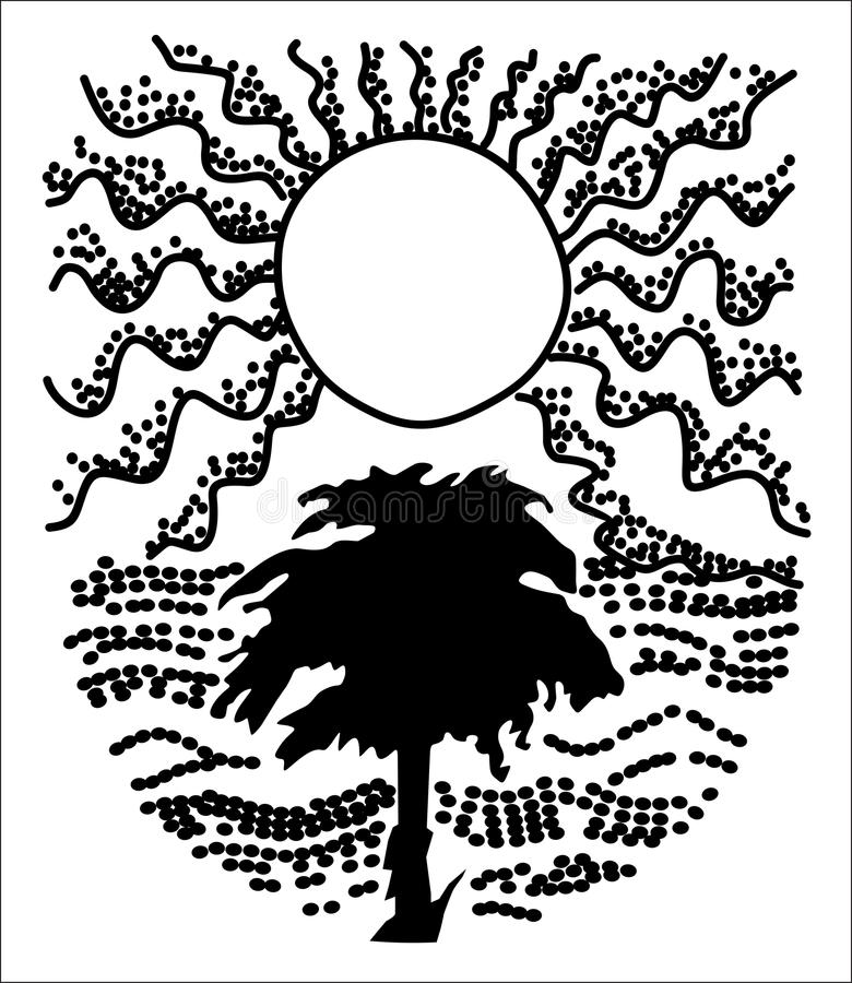 Zone de Sun et arbre - composition illustration stock