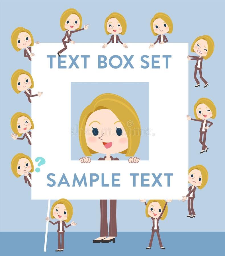 Zone de texte de blanc de femme de cheveux blonds illustration stock