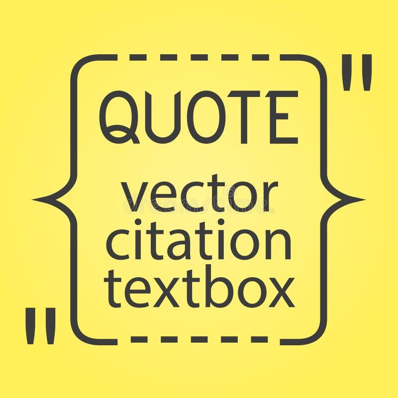 Zone de texte de citation Vue pour la citation de décoration et toute autre information Descripteur blanc Bulle vide Carte de vis illustration de vecteur